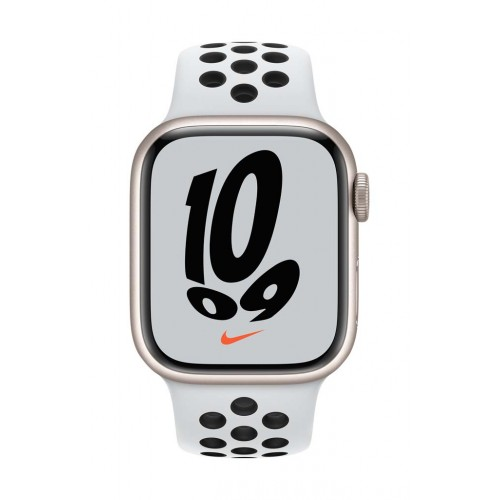 Apple Watch Nike Series 7 GPS, 41mm Starlight Aluminium Case with Pure Platinum/Black Nike Sport Band