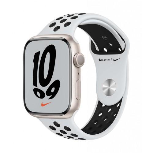 Apple Watch Nike Series 7 GPS, 45mm Starlight Aluminium Case with Pure Platinum/Black Nike Sport Band
