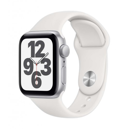 Apple Watch SE GPS 44mm Silver Case with White Sport Band