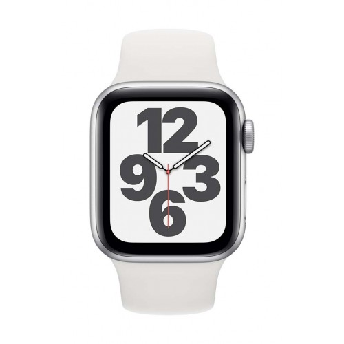 Apple Watch SE GPS 40mm Silver Case with White Sport Band
